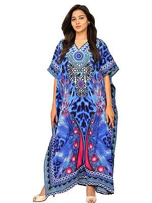 Long Kaftan with Cosmic Print and Dori at Waist