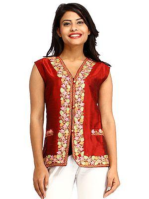 Maroon Kashmiri Waistcoat With Ari Embroidery