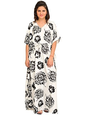 Winter White Long Kaftan with Giant Printed Flowers and Dori At Waist