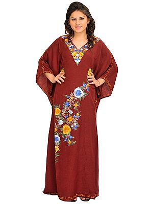 Tibetan Red Long Kaftan With Ari Embroidery