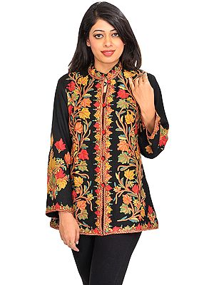 Caviar-Black Jacket from Kashmir with Hand Embroidered Tree of Life
