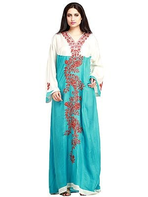 White and Aqua-Sea Gown from Kashmir With Ari-Embroidery