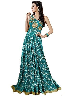Floral Printed Gown with Zari-Embroidered Flowers and Sequined Patch Border