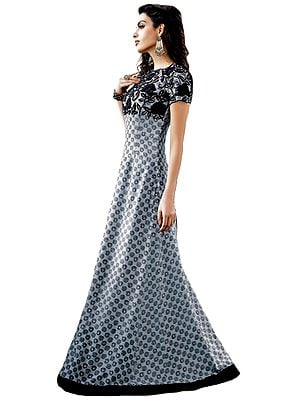 Winter-Sky and Black Floor Length Gown with Printed Spirals and Embroidered Flowers