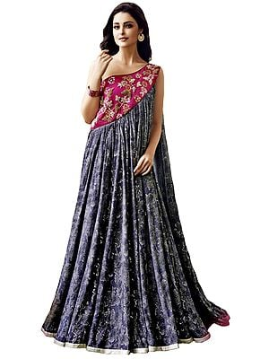 Pink and Gray Floor Length Gown with Floral Print and Embroidered Beads