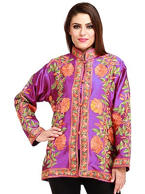 Hyacinth-Violet Kashmiri Jacket with Ari Embroidered Flowers