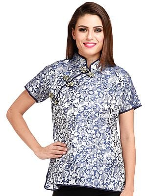Silver and Blue Cheongsam Top from Sikkim with Woven Flowers