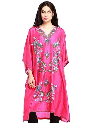 Raspberry-Sorbet Kashmiri Short Kaftan with Ari Hand-Embroidered Flowers