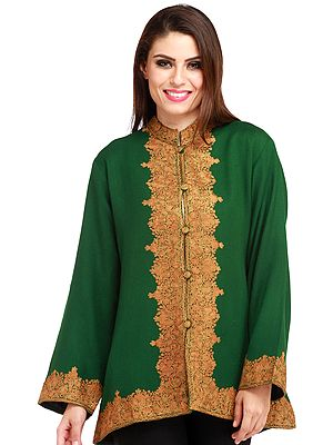 Verdant-Green Jacket from Kashmir with Ari Hand-Embroidery on Border