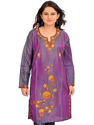 Chinese-Violet Kurti from Kashmir with Ari Embroidery by Hand