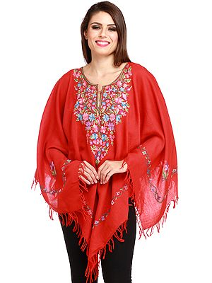 Kashmiri Poncho with Floral Hand-Embroidery on Neck