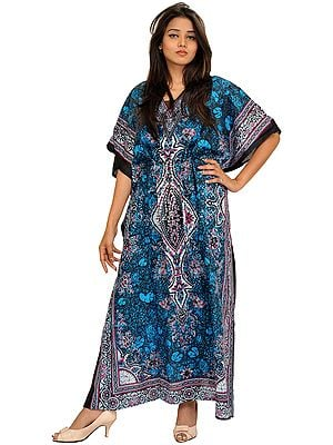Printed Kaftan with Dori on Waist and Floral Motifs