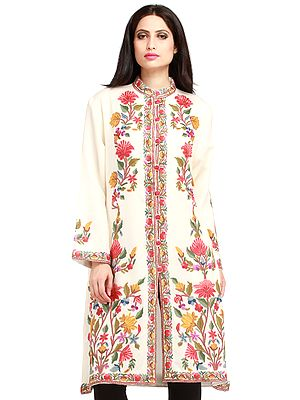 Ivory Kashmiri Long Jacket with Floral Hand-Embroidery in Multi-color Thread