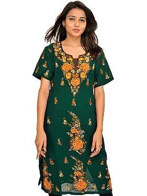 Bistro-Green Phulkari Embroidered Long kurti