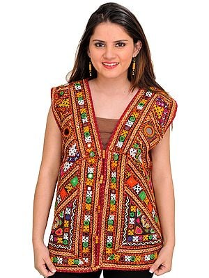 Multicolor Embroidered Waistcoat from Kutch with Mirrors