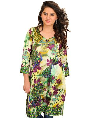 Arcadian-Green Digital Printed Kurti with Peacocks and Flowers