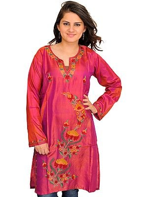 Rose-Wine Kahsmiri Kurti with Ari Floral-Embroidery by Hand