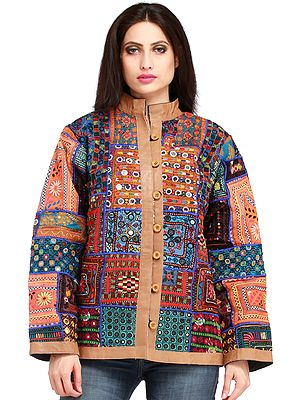 Multicolor Jacket from Kutch with Embroidery All-Over and Mirrors