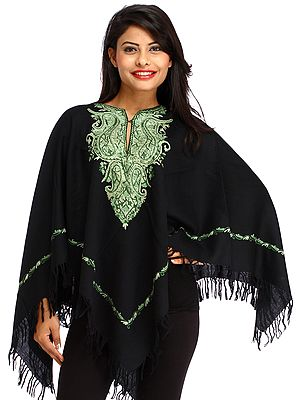 Black and Green Kashmiri Poncho with Hand-Embroidered Paisleys on Neck