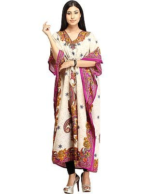 Cream Floral Printed Kaftan with Dori at Waist