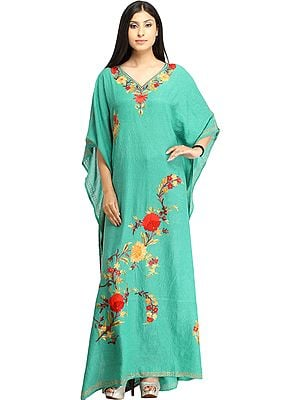 Turquoise-Green Kaftan from Kashmir with Ari-Floral Embroidery