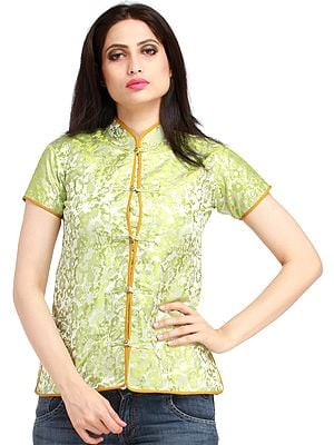 Green-Glow Jacket from Sikkim with Woven Flowers