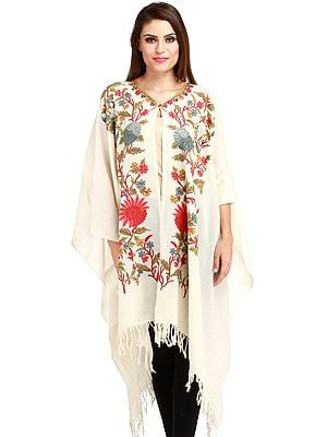 Ivory Kashmiri Cape with Ari Hand-Embroidered Flowers