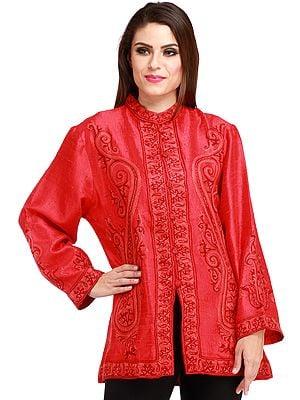 Tomato-Red Kashmiri Jacket with Ari Hand-Embroidered Paisleys