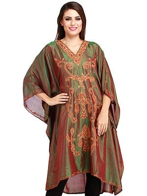 Vineyard-Green Kashmiri Short Kaftan with Ari Hand-Embroidery