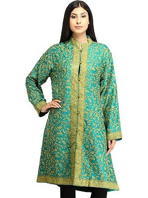 Tropical-Green Kashmiri Long Jacket with Ari Hand-Embroidered Paisleys All-Over