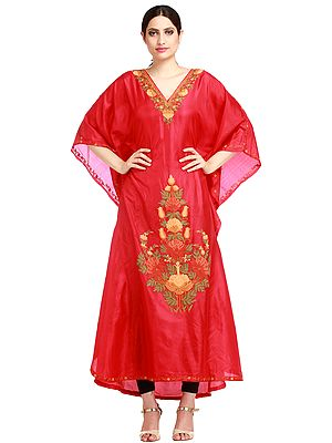 Scarlet-Red Kashmiri Kaftan with Ari-Embroidery by Hand