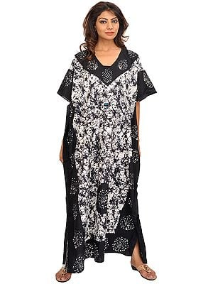 Black and White Batik-Dyed Kaftan