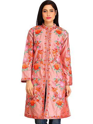 Pale-Mauve Kashmiri Long Jacket with Ari Hand-Embroidered Flowers