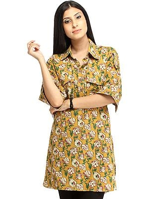 Honey-Mustard Block Printed Kurti from Pilkhuwa with Front Pockets