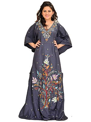 Nightshadow-Blue Kaftan from Kashmir with Beads-Embroidered Maple Tree and Stone-work