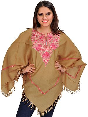 Pale-Khaki Ari Kashmiri Poncho with Pink Floral Hand-Embroidery on Neck