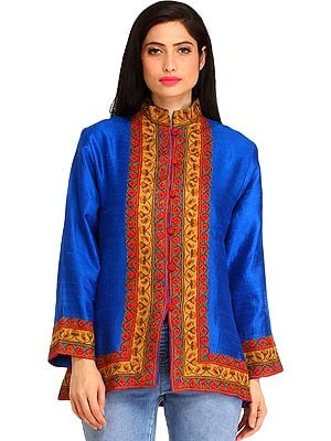 Imperial-Blue Jacket from Kashmir with Ari Hand-Embroidery on Border