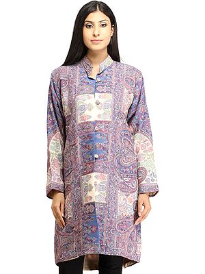 Allure-Blue Kani Jamawar Long Jacket from Amritsar with Woven Paisleys