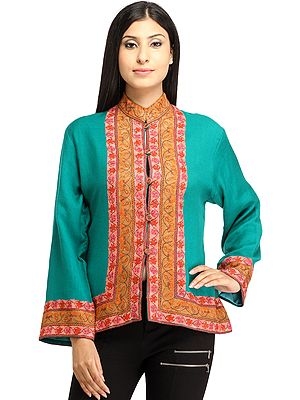 Viridian-Green Ari Kashmiri Short Jacket with Floral Hand-Embroidered Border