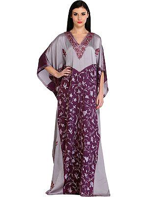 Deep-Purple and Gray Ari-Embroidered Kaftan from Kashmir