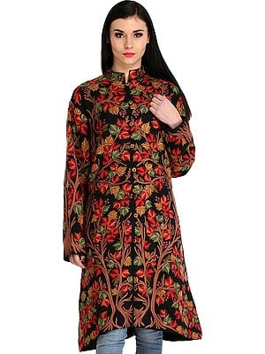 Phantom-Black Long Jacket from Kashmir with Ari Hand-Embroidered Maple Tree