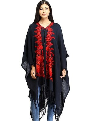 Insignia-Blue Cape from Kashmir with Ari Floral-Embroidery in Red