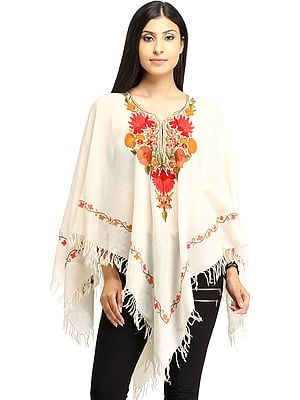 Ivory Poncho from Kashmir with Ari Hand-Embroidered Flowers on Neck