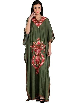 Capulet-Olive Ari Embroidered Kaftan from Kashmir