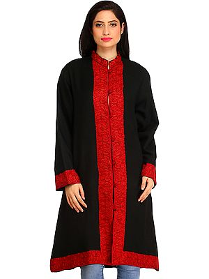 Jet-Black Long Jacket from Kashmir with Ari Hand-Embroidered Paisleys on Border