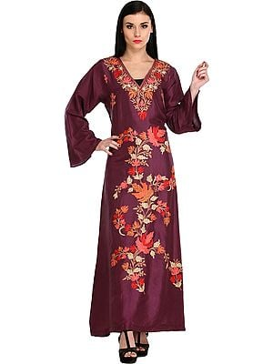 Dark-Purple Gown from Kashmir With Ari-Embroidered Maple Leaves