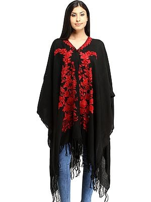 Jet-Black Cape from Kashmir with Ari Embroidered Flowers in Red