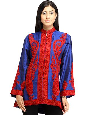 Dazzling-Blue Jacket from Kashmir with Ari Hand-Embroidered Paisleys in Red