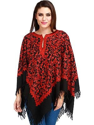 Black and Red Poncho from Kashmir with Ari Hand-Embroidery All-Over