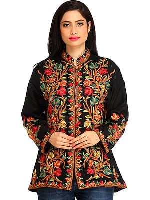 Phantom-Black Jacket from Kashmir with Ari Hand-Embroidered Maple Leaves